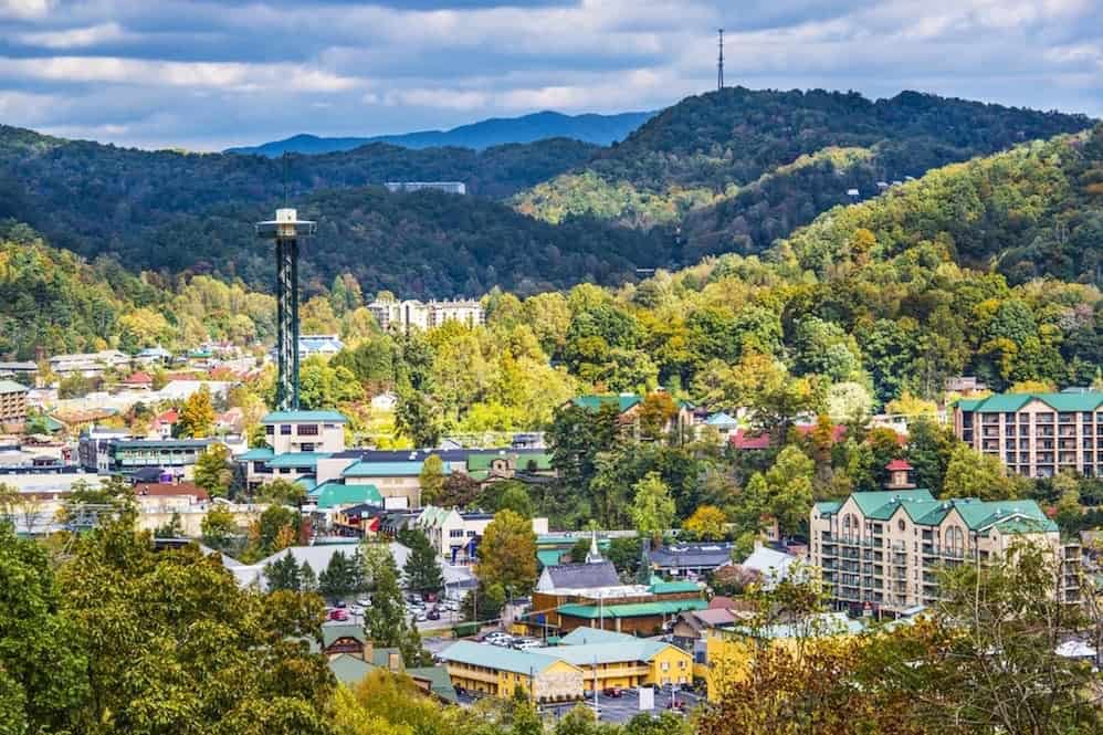 Beautiful photo of the downtown Gatlinburg skyline.