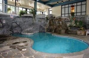 The awesome swimming area at our hotel in Gatlinburg TN with indoor pool.
