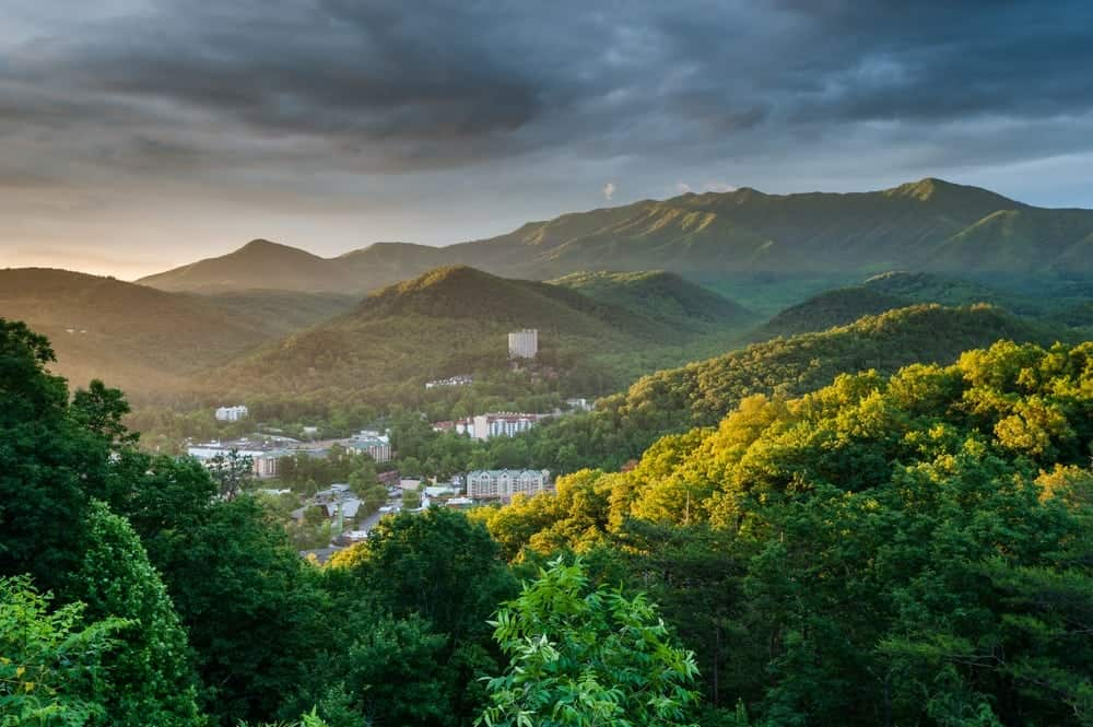 Beautiful photo of the city of Gatlinburg in the mountains in the early morning.