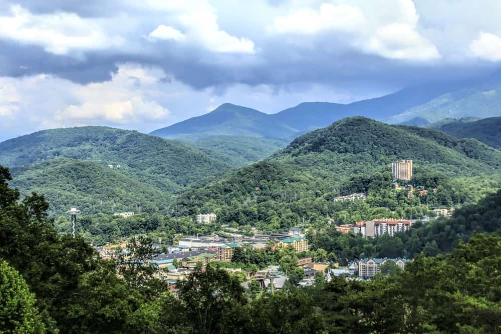 Stunning photo of downtown Gatlinburg and the mountains.