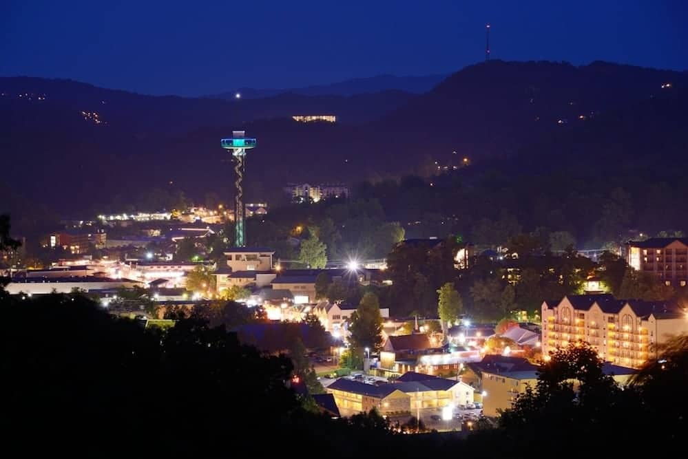 Beautiful photo of night in Gatlinburg.