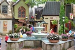 The beautiful fountain at The Village in Gatlinburg Tn