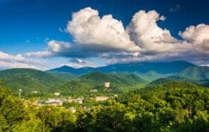Beautiful photo of the Gatlinburg skyline and the Smoky Mountains/