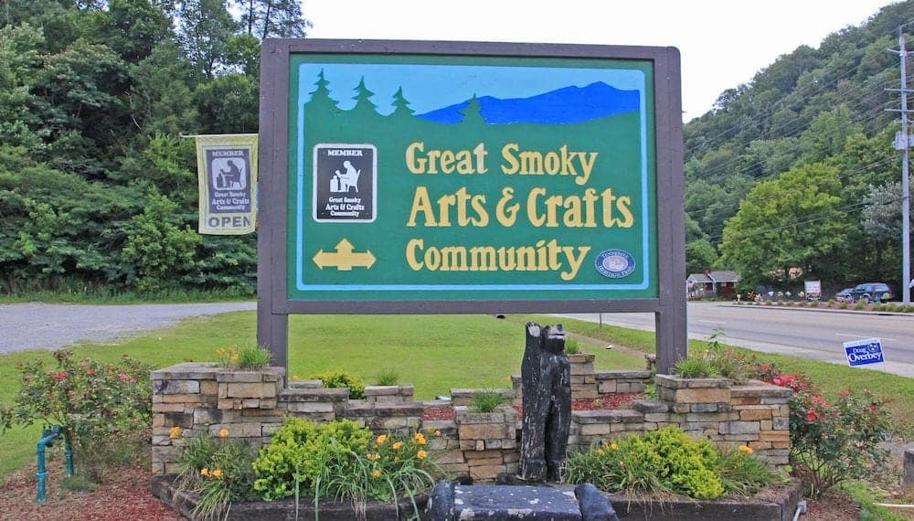The sign for the Great Smoky Arts & Crafts Community.